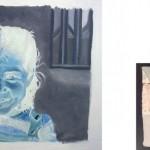 """Serie """"Doble álbum de familia (ubicuidad)"""" 81x60 cm. (pintura) y 10x15cm. (fotografía). Óleo sobre lienzo, fotografía digital. 2007"""
