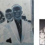 """Serie """"Doble álbum de familia (ubicuidad)"""" Dimensiones: 150x100 cm. (pintura) y 10x15cm (fotografía). Óleo sobre lienzo, fotografía digital. 2010"""