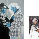 """Serie """"Doble álbum de familia (ubicuidad)"""" 60x45 cm. (pintura) y 10x15cm. (fotografía). Óleo sobre lienzo, fotografía digital. 2009"""