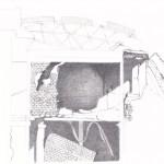 """Paisajes.  2014 Lápiz / papel 17,5 x 26,5 cms. """"J'ai revé d'un nid où les arbres repoussaient la mort""""  A. Shedrow, Berceau sans promesses."""