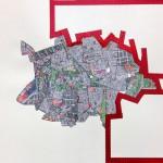 Sin título #5 - De la serie Prácticas de desplazamiento. 38X57cms. Tinta china y collage. 2013